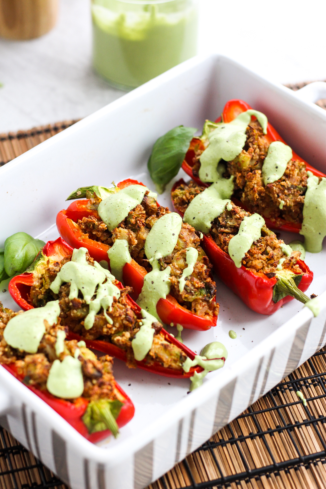 Paprika gefüllt mit Manden und Rosenkohl